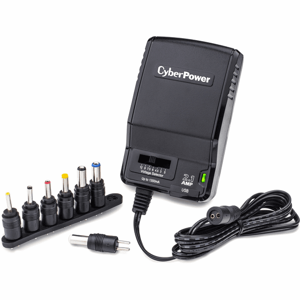 CyberPower CPUAC1U1300 Universal Power Adapter 3-12V 1300mA and AC Power Plug