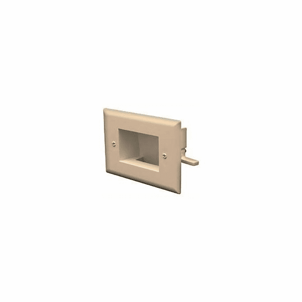 DataComm Easy Mount Recessed Low Voltage Cable Plate - Light Almond