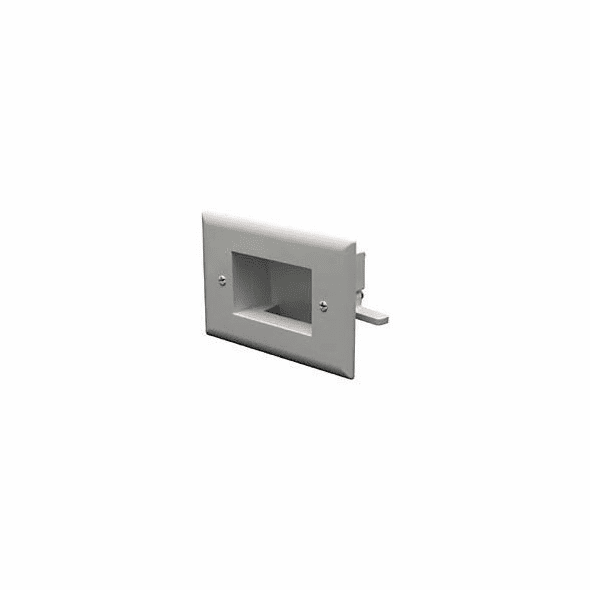 DataComm Easy Mount Recessed Low Voltage Cable Wall Plate, Slim Fit - White