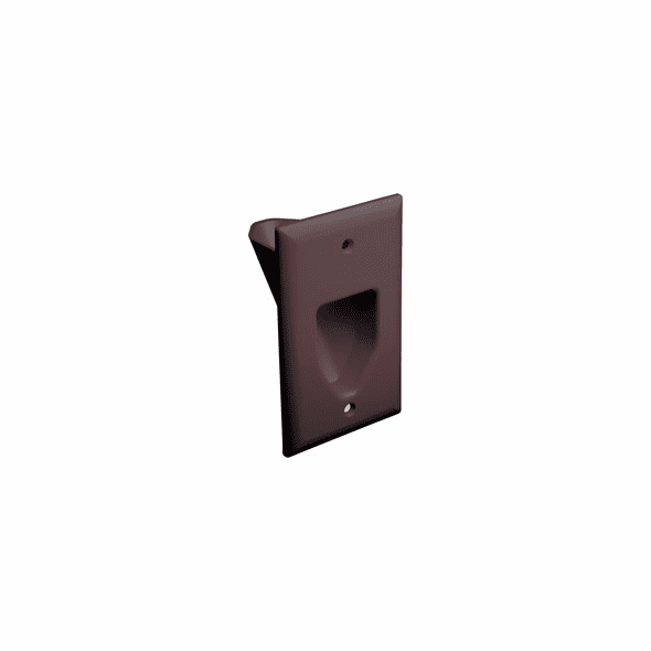 DataComm Single Gang Recessed Low Voltage Cable Wall Plate - Brown