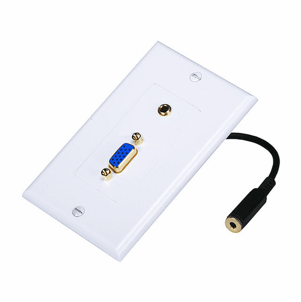 Decora Style VGA and 3.5mm Stereo Audio Wall Plate with Gold Plated Inserts