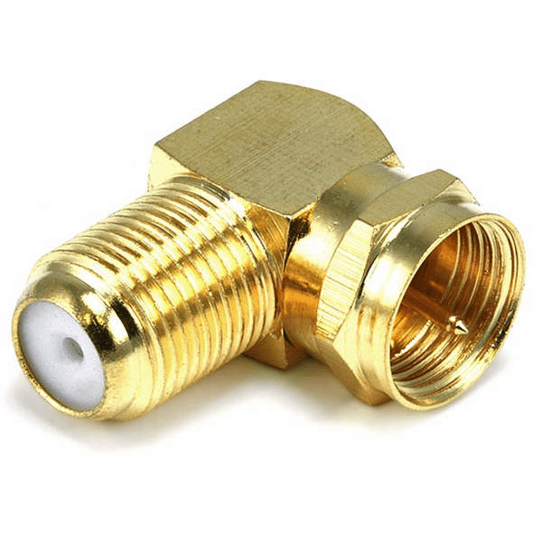 F-Type Right Angle Screw-on Plug Adapter - Gold Plated