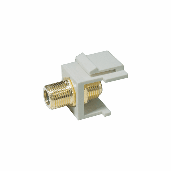 """Gold Plated Coax """"F"""" Connector Keystone Insert - White"""
