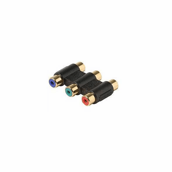 Gold plated Component Video 3 RCA (Red/Green/Blue) One Piece Color Coded Coupler