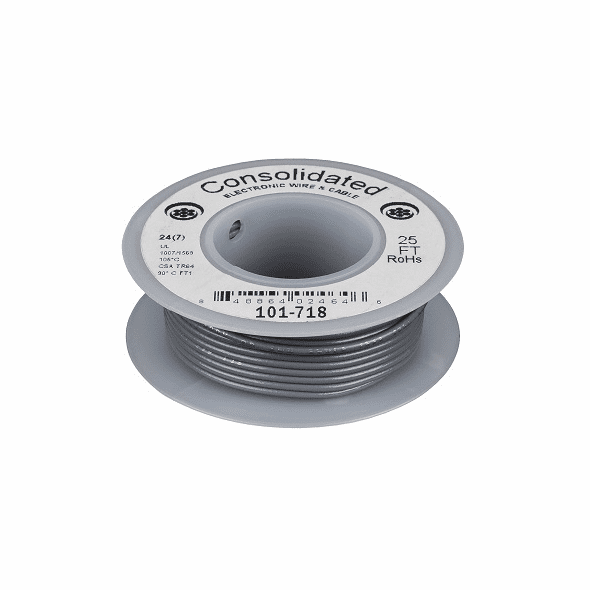 Gray 25 Foot 20 AWG stranded hook-up wire