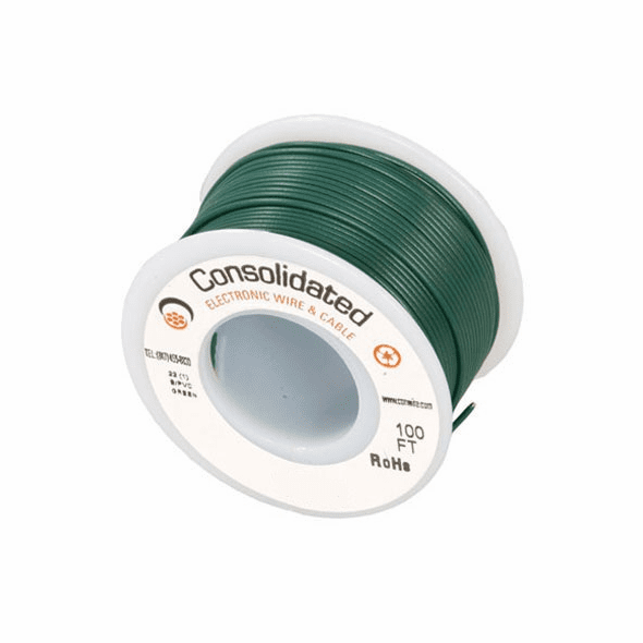 Green 25 Foot 24 AWG stranded hook-up wire