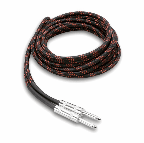 "HOSA 3GT-18C5 18 Foot Cloth 1/4"" Guitar Cable, Black with Red"