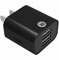 iEssentials IEN-AC22A-BK 2.4 Amp Dual USB Wall Charger - Black
