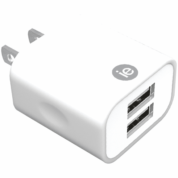 iEssentials IEN-AC22A-WT 2.4-Amp Dual USB Wall Charger - White