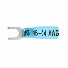 Insulated Heat Shrink #10 Spade Terminal, Blue 16-14awg - 10 Pack