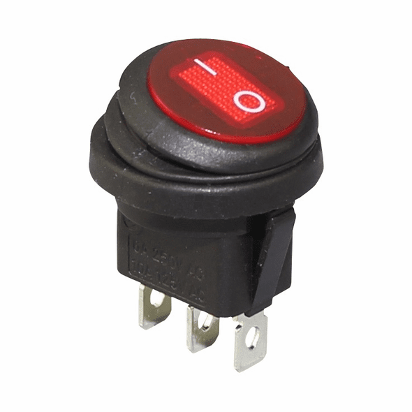 KCD-1 Round Rocker Switch 3 pin 250V / 10A 125V SPDT ON-OFF Snap-in with RED Led light 20mm Diameter
