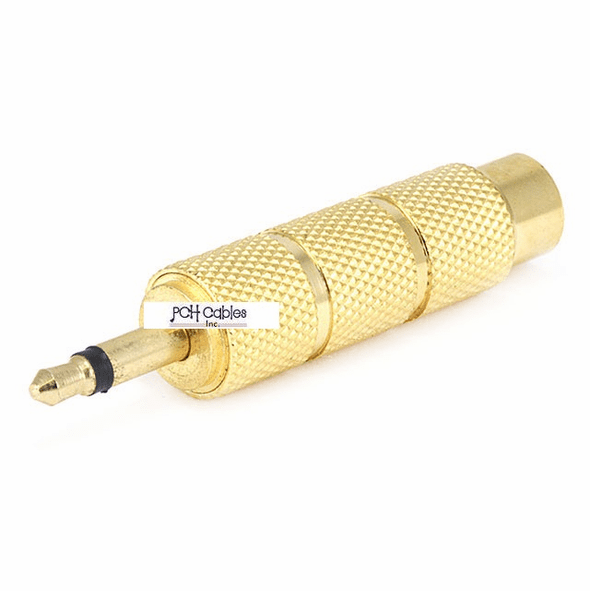 Metal 3.5mm Mono Plug to 6.35mm (1/4 Inch) Stereo Jack Adaptor - Gold Plated