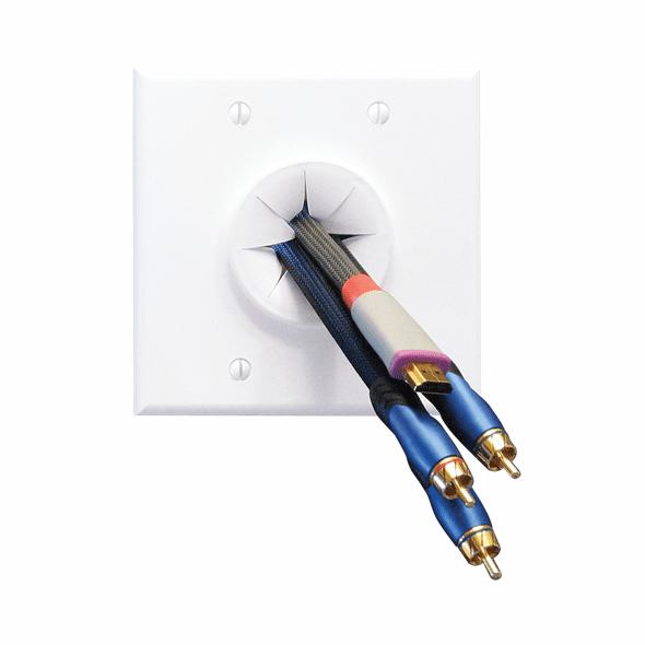 MIDLITE 2GWH-GR2 Double Gang Wireport™ with Grommet (White)