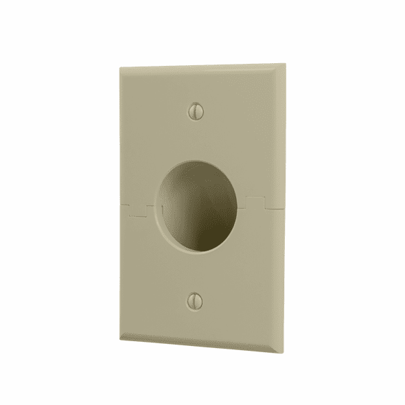 Midlite Splitport™ Scoop Cable Pass-Through Wall Plate - Ivory