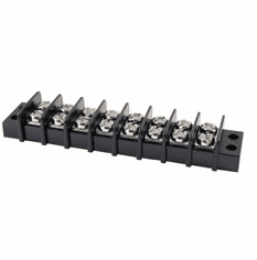 NTE 25-B500-08 Terminal Block Barrier Dual Row 8 Pole 9.50mm Pitch 300V 20A Panel Mount 22-14awg Wire Range
