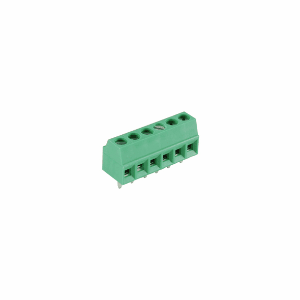 NTE 25-E100-06 Terminal Block Eurostyle 6 Pole 3.50mm Pitch 300V 10A PC Mount Terminals 26-16awg Wire Range