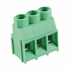 NTE 25-E1700-03 Terminal Block Eurostyle 3 Pole 6.35mm Pitch 300V 30A PC Mount Terminals 26-10awg Wire Range