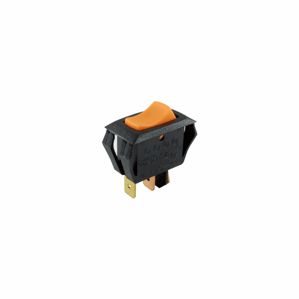 NTE 54-064 Rocker Switch illuminated miniature snap-in SPST Off-None-On 16a 125vac neon amber actuator .250 qc