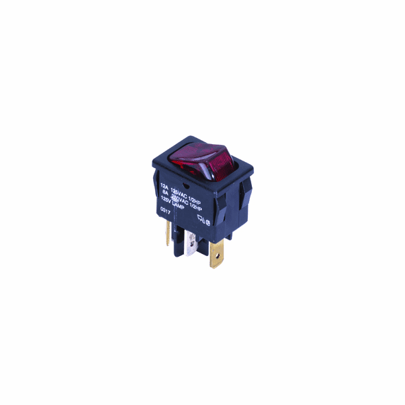 NTE 54-080 Rocker Switch illuminated SPST On-None-Off 12a 125vac red lens 125vac neon lamp .187 qc mini snap-in