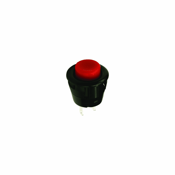 NTE 54-385 Switch round Pushbutton SPST Off-(On) red actuator solder lug terminal .700 inch mounting hole