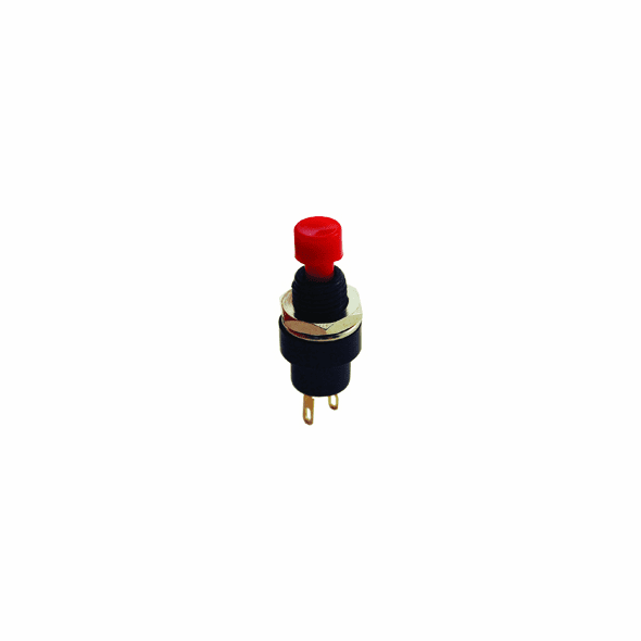 NTE 54-394 Switch mini Pushbutton SPST 3a 250vac Off-(On) black body/red actuator solder lug term .275 in hole