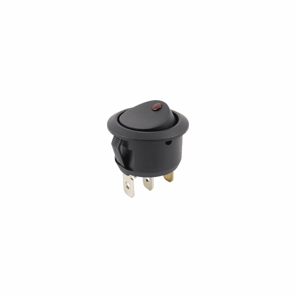 NTE 54-506 Rocker Switch illuminated round hole SPST 16a 125vac On-None-Off red neon lamp .187 qc terminals