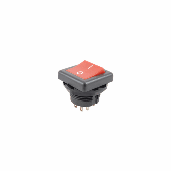 NTE 54-507 Rocker Switch round hole SPST 10a 125v On-None-Off red nylon actuator w/i-o legend w/solder lugs