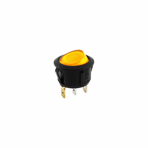 NTE 54-525 Rocker Switch illuminated round hole SPST 10a 250vac On-None-Off amber 110vac neon lamp .187 qc tabs