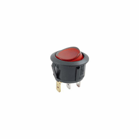 NTE 54-527 Rocker Switch illuminated round hole SPST 10a 250vac On-None-Off red 12vdc led lamp .187 qc tabs