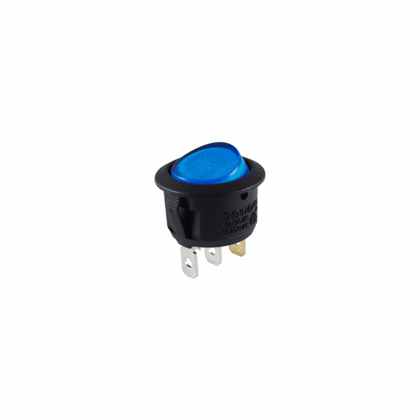 NTE 54-530 Rocker Switch illuminated round hole SPST 10a 250vac On-None-Off blue 12vdc led lamp .187 qc tabs