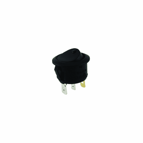 NTE 54-533 Rocker Switch illuminated round hold SPST 16a 125vac On-None-Off green neon lamp .187 qc terminals