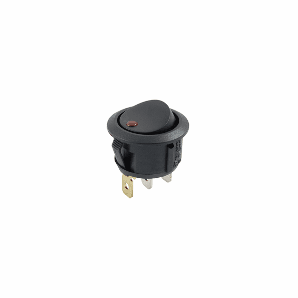 NTE 54-534 Rocker Switch illuminated round hole SPST 16a 125vac On-None-Off red led lamp .187 qc terminals