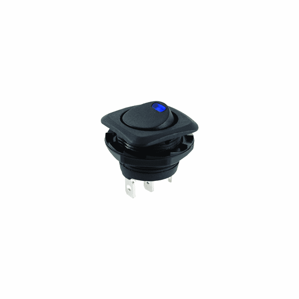 NTE 54-554 Rocker Switch illuminated round hole SPST On-None-Off 16a 125vac blue led .187 tab terminals