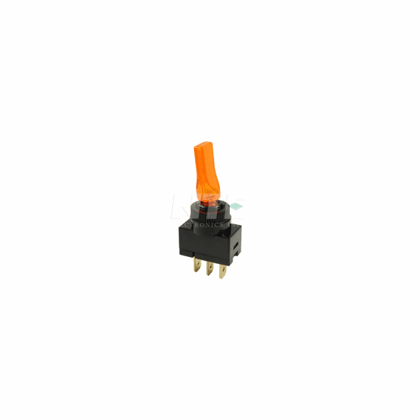 NTE 54-705-A Switch illuminated Toggle SPST 20a 12vdc On-None-Off amber transparent lever .250 inch qc terminals