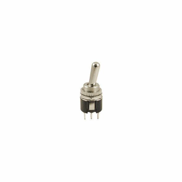 NTE 54-722 Toggle Switch round hole SPDT 6a 125vac On-None-On solder terminals metal bat handle