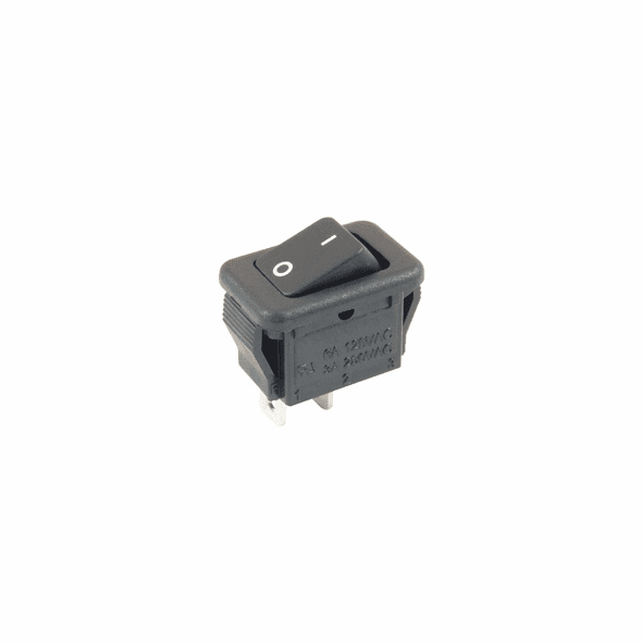 NTE 54-872 Rocker Switch micro snap-in SPST On-None-Off 6a 125vac black actuator w/legend solder lug terminals