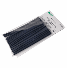 NTE HS-ASST-1 24 Pieces 6 Inch Thin Wall Heat Shrink 2:1, Black, Assorted sizes