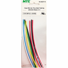 """NTE HS-ASST-10 10 Pieces 6 Inch Thin Wall Heat Shrink 2:1, 1/16"""" -  Assorted Colors"""