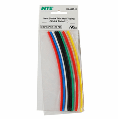 """NTE HS-ASST-11 10 Pieces 6 Inch Thin Wall Heat Shrink 2:1, 3/32"""" -  Assorted Colors"""