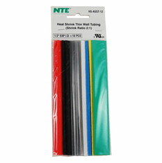 "NTE HS-ASST-12 10 Pieces 6 Inch Thin Wall Heat Shrink 2:1, 1/2"" -  Assorted Colors"