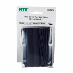 NTE HS-ASST-4 28 Pieces 4 Inch Thin Wall Heat Shrink 2:1, Black, Assorted sizes