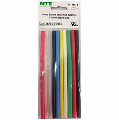 """NTE HS-ASST-6 10 Pieces 6 Inch Thin Wall Heat Shrink 2:1, 3/16"""" -  Assorted Colors"""