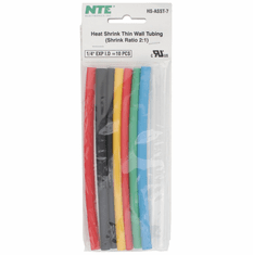 """NTE HS-ASST-7 10 Pieces 6 Inch Thin Wall Heat Shrink 2:1, 1/4"""" -  Assorted Colors"""