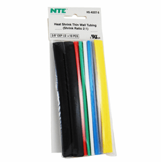 """NTE HS-ASST-8 10 Pieces 6 Inch Thin Wall Heat Shrink 2:1, 3/8"""" -  Assorted Colors"""