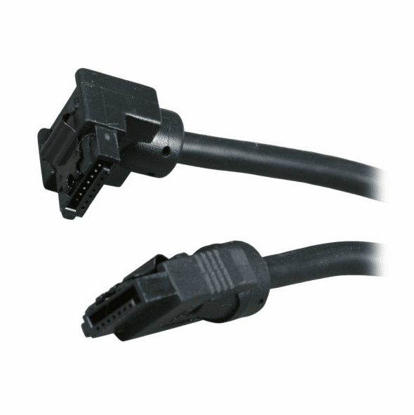 """OKGear 10"""" Black SATA 6Gbs Round Data Cable, Right Angle to Straight, with Clips"""