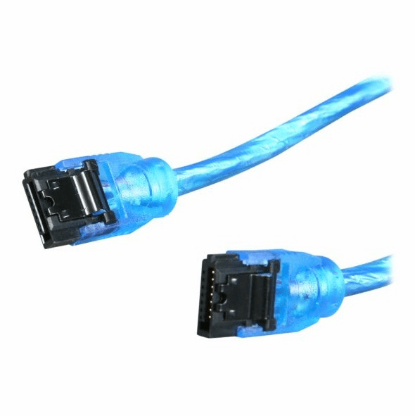 "OKGear 36"" UV Blue SATA 6Gbs Round Data Cable, Straight to Straight, with Clips"
