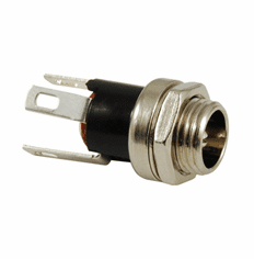 NTE Power Jack DC Panel Mount 5.5mm X 2.1mm 24V 2amp Metal And Nylon .320 Inch Mounting Hole 3 Lead