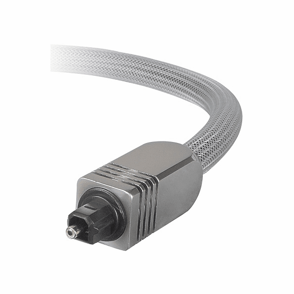 Premium 12 Foot Digital Optical Toslink Cable, 8.0mm OD, with Silver Mesh and Metal Connector