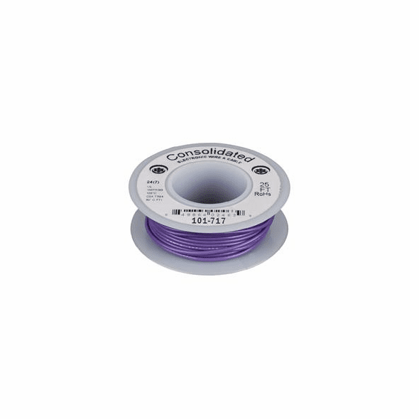 Purple 25 Foot 20 AWG stranded hook-up wire