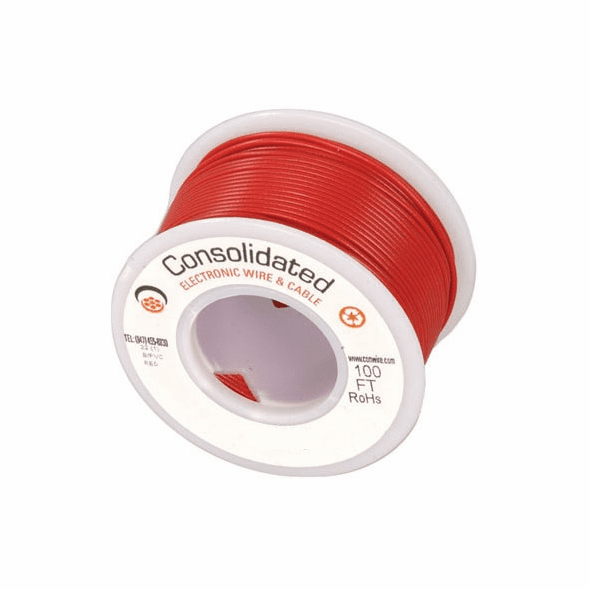 Red 25 Foot 28 AWG stranded hook-up wire